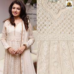 Bhagyashree looks like the perfect desi girl in white #puregeorgette Lucknowichikankari Suit that featured beautiful Chikan stitches detailed with #Muqaish, added to its charm. A classic and contemporary look framed by her, perks up the style quotient. #Adachikan offers a perfect amalgamation of the traditionalism Chikankari craft with the chicness of contemporary design. Get your hands on this alluring Pure Georgette #Chikankarianarkali with #Dupatta at #Adachikanstudio. #Ada #Bollywoodstyles
