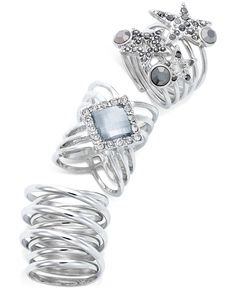 Bar III Silver-Tone Pavé Set of 3 Rings, Only at Macy's - Jewelry & Watches - Macy's