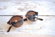 Millay Vintage :: Vintage Tortoise Sunglasses / 1990s does 1970s Retro Hippie Summer Festival Bohemian Sunglasses