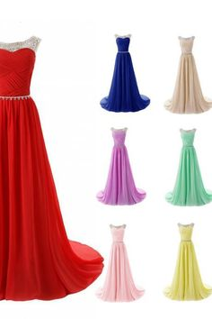 Scoop Neck Long Chiffon Prom Dresses Crystals Beaded Party Dresses Floor Length