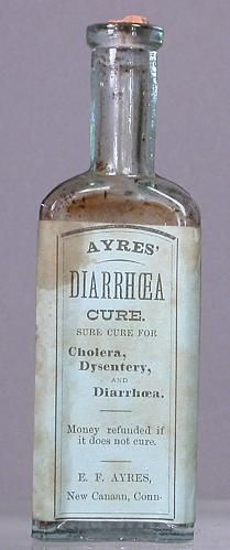 Ayres Diarrhea Cure 1890 could have contained opium, which did slow the digestive process by semi-paralysing the gut & bowel. Old Medicine Bottles, Antique Bottles, Vintage Bottles, Bottles And Jars, Glass Bottles, Vintage Advertisements, Vintage Ads, Vintage Posters, Vintage Ephemera