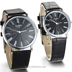 JewelryWe 2pcs His and Hers Roman Numbers Couples Leather Analog Quartz Wrist Watches (One Pair)  BUY NOW     $10.99    Black leather strap band design, black dial, water-resistant.  Roman numerals design, simple and decent style for men and boys.  Good choice as couple watches or gifts.Material: Leather & Alloy; Clock Movement: Quart ..