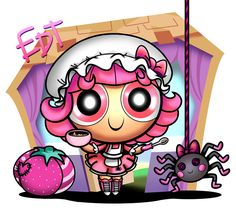 In love with these lalaloopsy/ppg fan art drawings! PPG Lalaloopsy: Tuffet Miss Muffet by thweatted.deviantart.com