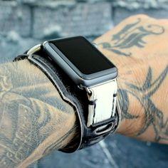 Black and White Apple Watch White Apple Watch Band, Apple Watch Cuff, Apple Watch Leather Strap, Brown Leather Watch, Leather Watch Bands, Apple Watch Bands, Apple Watch Models, Beautiful Watches, Leather Cuffs