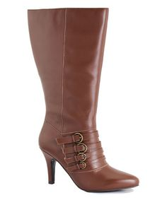 Love this Cognac Mecca Wide-Calf Leather Boot on #zulily! #zulilyfinds
