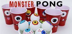 Make a creepy fun monster eye pong party game with plastic cups & ping pong balls. (Beer pong was never this awesome.) Kids & adults alike will love it! Burlap Christmas Tree, Christmas Crafts, How To Make Stencils, Making Stencils, Monster Birthday Parties, Birthday Ideas, Halloween Entertaining, Monster Eyes, Painted Mason Jars