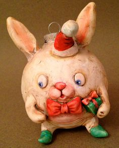 Sweet Bunny Vintage Style Christmas Ornament