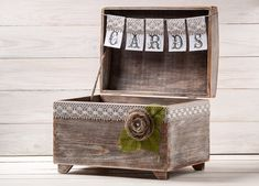 Wedding Cards Box Holder with Burlap and Lace Cards Banner Rustic Wedding Card Gift Box Wooden Chest Shabby Chic Flowers Wedding Sign on Etsy, $106.56