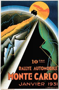 Monte Carlo Rally January 1931 advertising poster reproduction by PanchromaticaDesigns on Etsy