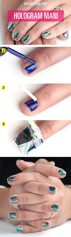 Hologram Nail Art Tutorial - Hologram Foil Manicure How To - Seventeen