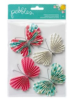 American Crafts - Pebbles - Garden Party Collection - 3 Dimensional Self Adhesive Butterflies
