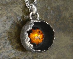 Amber Necklace - Small Sterling Silver Amber Pendant on Chain - Botanical Pod Pendant by MarcusBerknerJewelry on Etsy (null) Fall Jewelry, Amber Jewelry, Boho Jewelry, Jewelry Art, Jewelery, Silver Jewelry, Jewelry Necklaces, Handmade Jewelry, Jewelry Design