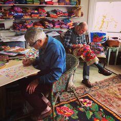 Two blokes at work #kaffefassettstudio #textilestudio #designstudio #kaffefassett #brandonmably #needlepoint