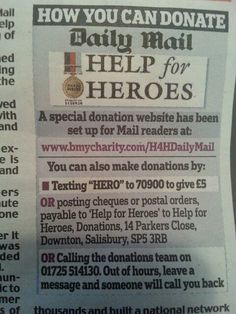 Ways to donate to Help for Heroes from Daily Mail Saturday May 25, 2013