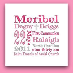Girl's Personalized Religious Subway Art | Christening, Baptism, First Communion