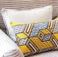 N'djamena Pillow | African wax print | African textiles | Yellow white gray throw pillow | Cubism pattern | 3rd Culture