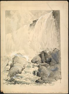 """View of the American Falls, from below the Cave of the Winds,"" Harry Fenn, 1893, watercolor on paper, 11 3/16 x 9"", Albright-Knox Art Gallery."