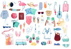 Summer Flair icons illustrated by ©Clare Owen. Represented by i2i Art Inc. #i2iart