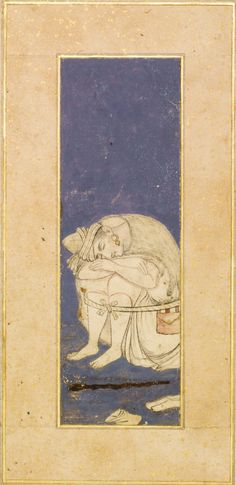 A resting dervish, Persia, Safavid, Isfahan, circa 1620-40 ink with use of colours on a gouache ground, mounted on an album page with gold-sprinkled borders,  painting: 16.5 by 5.4cm leaf: 36 by 23.3cm