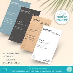 DIY Editable Minimal Business Card Template 2 Sizes | Etsy Minimal Business Card, Unique Business Cards, Business Card Size, Business Card Design, Soap Labels, Candle Labels, Label Templates, Custom Fonts, Tag Design