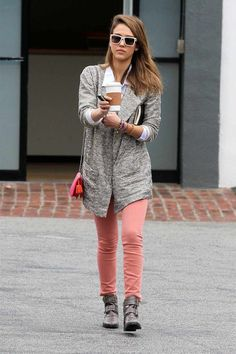 Jessica Alba Stylish Casual Look : Pastel Pants + Grey Coat + Grey Booties