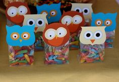 Owl party lolly bags by kendra Owl Parties, Owl Birthday Parties, Birthday Decorations, Birthday Ideas, Decoration Party, 3rd Birthday, Owl Party Favors, Party Bags, Candy Favors
