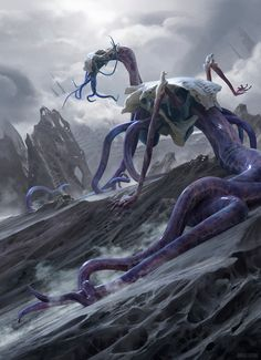 Bane of Bala Ged MtG Art from Battle for Zendikar Set by Chase Stone Alien Creatures, Fantasy Creatures, Mythical Creatures, Dark Fantasy, Fantasy Art, Science Fiction, Fantasy Monster, Monster Art, Starcraft