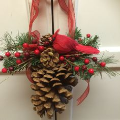 Large Decorated with Evergreen and Red Bird