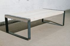 coffee table made out of recycled wood and steel by BjornKarlsson