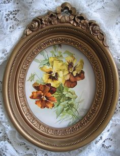 Antique pansies print in oval barbola frame, for sale now at www.rubylane.com/shop/victorianroseprints