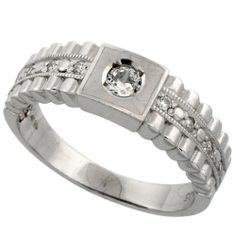 Sterling Silver Men's Wedding Ring CZ Stones Rhodium Finish, 1/4 in. 6.5 mm, Size 14 Sabrina Silver. $60.50