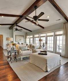 exposed beams and ceiling fans