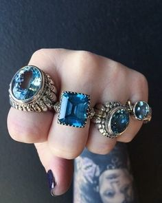 Rings a blue Bell..?!! in Blue Topaz Large Navajo, Square Gem, Small Navajo and Winged Gem.