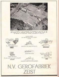 Een vooroorlogse advertentie van de Gero-fabrieken in Zeist. Het adres aan de spoorlijn Zeist-Bilthoven is Geroplein 1, en een kantoor met showroom en fabriek op de Karpervijver. In 1909 heet het bedrijf M.J. Gerritsen & Co en vanaf 1912 Eerste Nederlandsche Fabriek van Nieuw Zilverwerken, voorheen M.J. Gerritsen & Co'. Aanvankelijk vervaardigt Gero alleen bestek. De fabriek sluit in 1974, het kantoor als Gerritsen en Van Kempen in 1986. Alleen het kantoor Karpervijver 27 is bewaard…