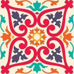 Find Beautiful Seamless Ornamental Tile Background Vector stock images in HD and millions of other royalty-free stock photos, illustrations and vectors in the Shutterstock collection. Tile Patterns, Textures Patterns, Print Patterns, Ceramic Painting, Fabric Painting, Tile Art, Tiles, Tile Crafts, Mexican Art