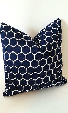 Sunbrella Pillow, Navy Pillow Cover, Chicken Wire Pillow, Geometric Pillow, Sunbrella Wire, Farm Pillow Cover, Hexagon Pillows, Blue White