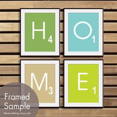 HOME (Set of 4 - 11x14 Print) (Featured in Grass Gree, Tiffany Blue, French Grey and Lime Zest) Modern Gameboard. $47.85, via Etsy.