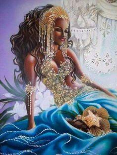 African art paintings - Rituel d'amour et bougies d'agrumes )) Yabyum's pagan life – African art paintings Art Black Love, Black Girl Art, Black Girl Magic, Art Girl, African Mythology, African Goddess, Oshun Goddess, Goddess Art, Black Mermaid