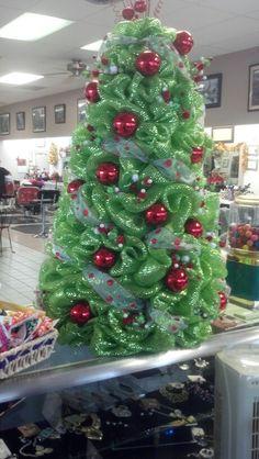 christmas deco mesh tree - Tomato Cage Christmas Tree With Mesh