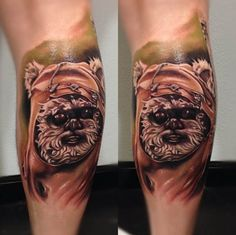 Wicket the Ewok Tattoo by Audie Fulfer Jr. #ink #Inkedmag #Inked #tattoo #ewok #wicket #star #wars #color #character