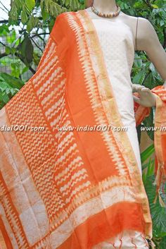 Beautiful Chanderi dupatta with block printing | India1001.com