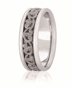 Hand Made Scroll Work Wedding Band With High Polished Edges For Men & Women Available In Various Widths And Finishes In Your Choice Of 14K & 18K White, Yellow, Rose & Two Tone Gold, Platinum & Palladium