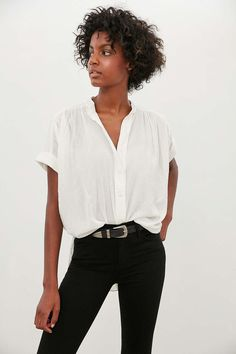 """Ecote Annie Gauzy Button-Front Blouse In White    Length 30""""    $39 from #UrbanOutfitters"""