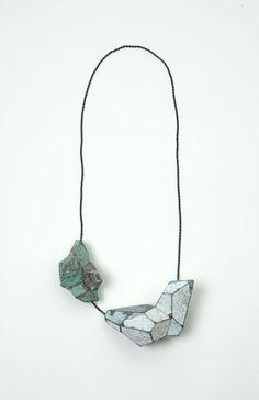 """""""White and green"""", necklace, 2012. Graffiti, silver. Photographer: Mirei Takeuchi"""