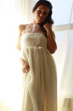 Wedding Dress  Bohemian Lace And Chiffon High Neck by whiteromance, $99.00