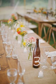 Cape Cod Celebrations simple rustic table setting with True North Event Rentals and Designers Touch Florals - photo by Lara Kimmerer