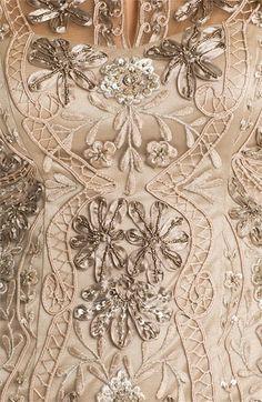 Sue Wong Mandarin Collar Embroidered Sheath Dress