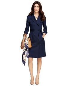 Wool Double-Breasted Trench DressNavy