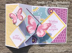 Seeds of Thoughtfulness with Lorin Goodchild: Watercolour Wings Flip Cards, Fun Fold Cards, Pop Up Cards, Folded Cards, Mini Albums, Pop Up Card Templates, 21st Birthday Cards, Shaped Cards, Card Making Techniques