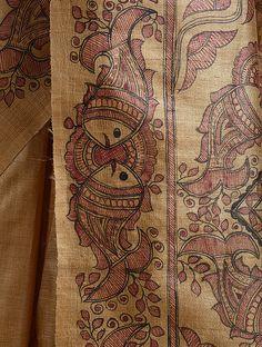 Saree Painting, Kalamkari Painting, Kerala Mural Painting, Fabric Painting, Hand Painted Sarees, Hand Painted Fabric, Scenery Paintings, Indian Art Paintings, Madhubani Art